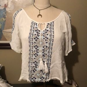 White and Blue Cold Shoulder Blouse